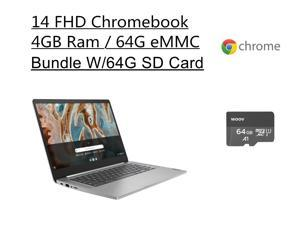 "New Lenovo Chromebook 3 14""FHD Laptop   Mediatek MT8183  Processor   4G Memory   64GB eMMC   Arctic Grey   Chrome OS   Bundle with Woov 64GB MicroSD Card"