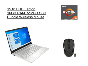 "New HP 15.6"" FHD Laptop   AMD Ryzen 5 5500U Processor   16GB RAM   512GB SSD   Silver   Windows 10 Home   Bundle with Wireless Mouse"
