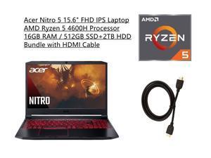 "New Acer Nitro 5 15.6"" FHD IPS 60Hz Display Laptop | AMD Ryzen 5 4600H Processor | NVIDIA GeForce GTX 1650 | 16GB RAM | 512GB SSD+2TB HDD | Backlit Keyboard | Windows 10 | Bundle with HDMI Cable"