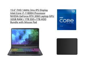 "New Acer Predator Helios 300 Laptop  Intel Core i7-11800H Processor NVIDIA GeForce RTX 3060 Laptop GPU  15.6"" FHD 144Hz 3ms IPS Display  32GB RAM   1TB SSD+1TB HDD  RGB Keyboard  Bundle with Mouse Pad"