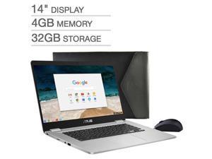 "ASUS 14"" Full HD Anti-Glare NanoEdge Chromebook   Intel Celeron  N3350   4GB LPDDR4 Memory   32GB eMMC  Dual Band Wireless-AC   HD Webcam    Chrome OS  Include Mouse & Sleeve"