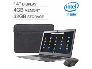 "2019 Acer Premium Flagship 14"" FHD Chromebook Bonus Wireless Mouse&Sleeve&64G SD Memory Card | Intel Celeron N3160 Processor |4GB RAM| 32GB eMMC Storage |HDMI| Webcam |Bluetooth | Steel Gray"