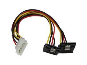 StarTech.com PYO2LP4LSATR 1 ft. 12in LP4 to 2x Right Angle Latching SATA Power Y Cable Splitter - 4 Pin Molex to Dual SATA