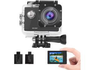 GBB Waterproof HD Action Camera 12MP 1080P Full 170° Wide Angle gopro Sport Camera 4 x Digital Zoom with 2 Batteries-Silver