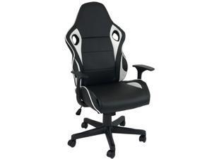 ViscoLogic Lotus Ergonomic Gaming Racing Styled Office Chair (Black & White)
