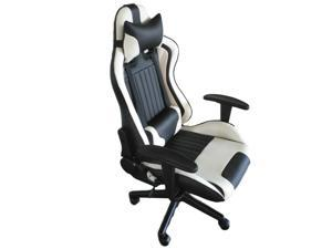 ViscoLogic Formula Racing Gaming Height Adjustable Swivel Home Office Computer Desk Chair (Black & White)