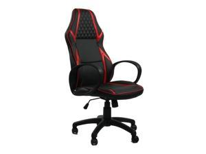 Inf BR Flat ViscoLogic Infinity Ergonomic Gaming Racing Height Adjustable Swivel Home Office Computer Desk Chair (Black Red)