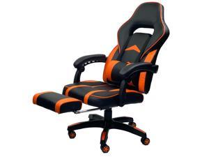 ViscoLogic Supra Ergonomic High Back Sports Style Home Office Gaming chair with Footrest (Black & Orange)