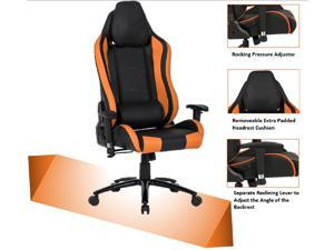 ViscoLogic TIGUAR High Back Sports Style Extra Padded Headrest Ergonomic Swivel Home Office Computer Gaming Chair (Black & Orange)