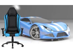 ViscoLogic TIGUAR High Back Sports Style Extra Padded Headrest Ergonomic Swivel Home Office Computer Gaming Chair (Black & Blue)