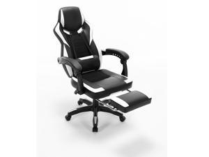 ViscoLogic MERLIN Ergonomic Sports Style Gaming Chair With Footrest  (Black & White)