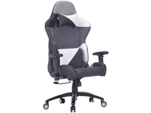 ViscoLogic ROG Series Ergonomic High Backrest Swivel Rocking Reclining Racing Home Office Computer Gaming Chair  (Black-Grey-White)