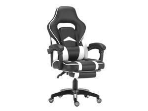 ViscoLogic Supra Ergonomic High Back Sports Style Home Office Gaming chair with Footrest (Black & White)