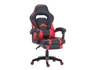 ViscoLogic Supra Ergonomic High Back Sports Style Home Office Gaming chair with Footrest (Black & Red)