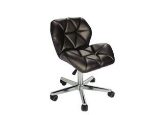 ViscoLogic JAGER Quilted Comfort Computer Desk Office Chair Stool (Black)