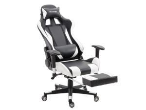 ViscoLogic SpeedX Ergonomic Gaming Chair for PC Video Game Computer Chair Racing Chairs with Footrest (White n Black)