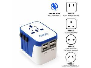 Ceptics All-In-One International Travel Adapter Plug - 4 USB Ports (UP-9KU)