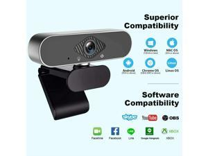 Webcam, Full HD 1080P Webcam with Microphone USB Web PC Camera with Microphone f