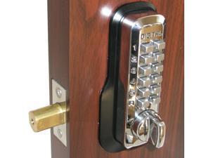 LockeyUSA Digital Door Lock M210 Mechanical Keyless Entry Deadbolt, Bright Chrome