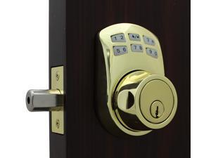 LockeyUSA Slim Line 910  Keyless Entry Combination, Digital Door Lock, Manual Drive Electronic Deadbolt, Bright Brass
