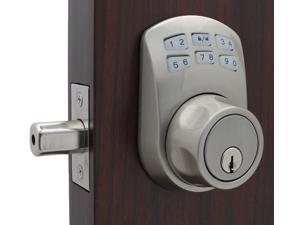 LockeyUSA Slim Line 910 Keyless Entry Combination, Digital Door Lock, Manual Drive Electronic Deadbolt, Satin Nickel