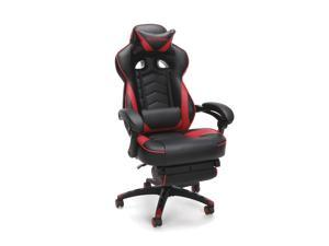 RESPAWN 110 Racing Style Gaming Chair, Reclining Ergonomic Leather Chair with Footrest, in Red (RSP-110-RED)