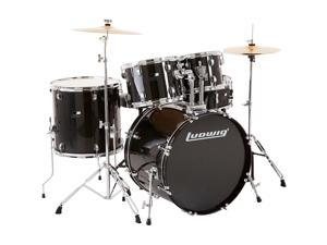 Ludwig Backbeat Complete 5-Piece Drum Set with Hardware and Cymbals Black Sparkle