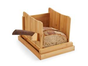 Bread Slicers for Homemade Bread and Loaf Cakes By Kozy Kitchen, 100% Organic Bamboo Bread Slicing Guide, Compact Foldable Bread Cutter Guide, Enhanced Bamboo Wooden Bagel Slicer
