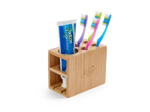 Kozy Bath Toothbrush and Toothpaste Holder Stand for Bathroom Vanity Storage, Bamboo, 5 Slots
