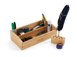 Desk Organizer 2 Tier Bamboo Desk Storage for Office Supplies, Toiletries, Crafts, Great for Desk, Vanity, Tabletop in Home or Office Bonus: Pen Holder by: BOOKAHOLIC