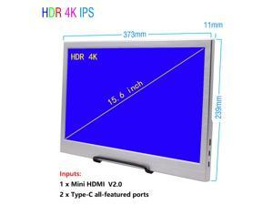 """15.6"""" USB-C Portable Display 15.6 inch 3840×2160 60Hz UHD IPS HDR Portable Monitor with Mini HDMI + Dual Type-C + Headphone Ports,Two Full-featured USB C ports, USB-C Power Supply, Premium LCD Screen."""