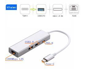 4 in 1 USB-C HUB Type-C to Gigabit Ethernet / USB C PD / 2 x USB3.0 Adapter, Support 1000Mbps Ethernet, USB-C PD Quick Charging and 2 USB 3.0 HUB for New MacBook, ChromeBook and Matebook.