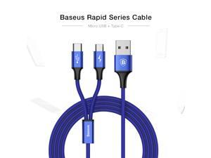 Baseus 3A Fast Charging USB Cable 3in1 Micro USB + Type-C  + 8P Connector 3A Fast Charging Data Transfer Cable 1.2M