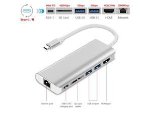 6-in-1 Type-C to 4K HDMI + 1000M LAN + SD + 2 x USB3.0 + 60W PD Adapter, Support 4K 30Hz UHD Video, Gigabit Ethernet, SD Card Reader, USB-C PD 60W Quick Charging and USB 3.0 Type-C Dongle USB C HUB.