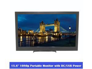 "15.6"" 1920x1080 Full HD IPS Portable Monitor 1080p HDR with Mini HDMI x 2 / 3.5mm Headphone / Micro USB Ports, 5V/2A Micro USB or 12V/2A DC Power Supply, Slim 15.6 inch Portable Display HDMI Input."