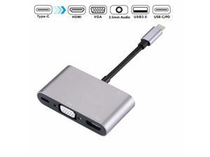 5-in-1 USB C Dock, with 4K USB-C to HDMI, Type-C to VGA, USB 3.0 Port, 3.5mm Audio Port and Charging Port for MacBook Chromebook, 5in1 USB C HUB with HDMI VGA Audio USB PD.