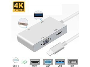 4 in 1 Type-C to HDMI  VGA  DVI  USB 3.0 4K Video Converter 4-in-1 USB-C HUB, Thunderbolt 3 Compatible, for New MacBook, ChromeBook & Surface connected Game, HDTV, Monitor and Projector.