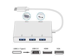 5 in 1 USB-C to 4K HDMI 1080p VGA Dock with 3 x USB3.0 HUB, Type-C to USB VGA HDMI Video Converter USB-C HUB with HDMI VGA USB Port.