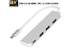 4 in 1 Type-C HUB USB-C Converter with HDMI PD USB HUB, Support 2 USB3.0 Ports and PD Quick Charging and HDMI 4K UHD Video Output for New Android Phone, New MacBook, Chromebook and Matebook.