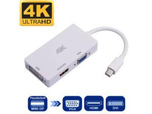 4K Mini DisplayPort Thunderbolt  to HDMI + VGA + DVI  Converter Cable, 4K HDMI DVI UHD and VGA 1080P Video Output for MacBook, Mac Mini, iMac, ThinkPad X1, Dell XPS14Z and XPS15, 3 in 1 Mini DP HUB.