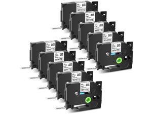 GREENCYCLE 10PK Black on White TZ TZe Tze-231 TZ-231 TZe231 TZ231 Laminated Label Tape 12mm 8m (1/2'' x 26.2ft) for Brother P-touch PT-P700 PT-P750W PT-D210 PT-D400 PT-D600 Label Maker