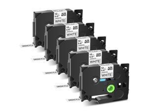 GREENCYCLE 5PK Black on White TZ TZe Tze-231 TZ-231 TZe231 TZ231 Laminated Label Tape 12mm 8m (1/2'' x 26.2ft) for Brother P-touch PT-P700 PT-P750W PT-D210 PT-D400 PT-D600 Label Maker