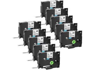 GREENCYCLE 10PK Black on White TZ TZe TZe-221 TZ-221 TZe221 TZ221 Laminated Label Tape 9mm 8m (3/8'' x 26.2ft) for Brother P-touch PT-P700 PT-P750W PT-D210 PT-D400 PT-D600 Label Maker