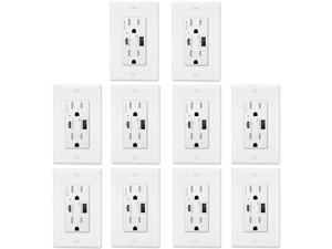 GREENCYCLE 4.8A Quick Charge USB Outlets Receptacles, 15 Amp Type C Supports PD & QC 3.0 USB C Wall Outlet UL Listed, 10 Pack