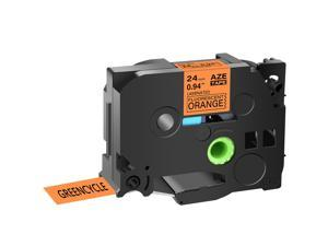 GREENCYCLE 1 Pack Compatible Brother TZe-B51 TZ-B51 TZB51 TZeB51 TZe Tape 24mm 1'' Laminated Black on Fluorescent Orange Label Tapes Cassette use for Brother P-Touch Labeler Label Maker