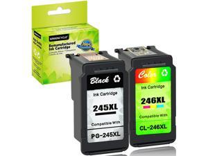 GREENCYCLE Ink Cartridge PG-245XL CL-246XL (1 Black & 1 Color) 2 Pack for Canon PIXMA Printer - Show Ink Level