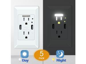 15A//125V Tamper Resistant Electrical Outlet Receptacle USB Outlet USB Charger Wall Outlet Dual High Speed 4.2 Amp USB Ports with Smart Chip White Screwless Wall Plate ETL Listed 2 Pack