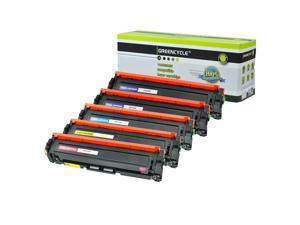 GREENCYCLE 5PK CF410A CF411A CF412A CF413A 410A Black Cyan Yellow Magenta Toner Cartridge Compatible for HP Color Laser Printer