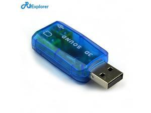 Blue USB Sound Card External 5.1-Channel w/3.5mm Headphone and Microphone Jack Interface,Computer Stereo Mic Audio USB Converter