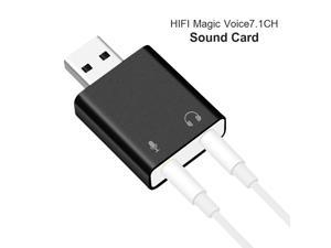Silver External USB Audio Sound Card USB To Jack 3.5mm Headphone Adapter Mic Sound Card Headsets Virtual 7.1 Ch Microphone Converter